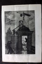 ILN 1880 Antique Print. Measuring the Wind: Sketch at the Royal Observatory